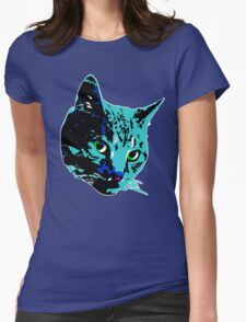 Electric Blue Tabby Face Womens Fitted T-Shirt