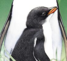 Gentoo penguin with chick, Macquarie Island Sticker