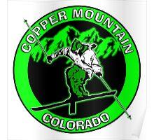 Green black Copper Mountain Colorado skier Poster