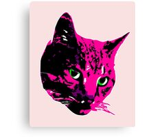 Electric Pink Tabby Face Canvas Print