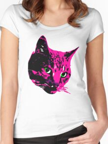 Electric Pink Tabby Face Women's Fitted Scoop T-Shirt