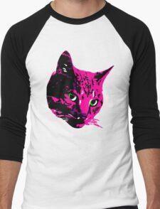 Electric Pink Tabby Face Men's Baseball ¾ T-Shirt