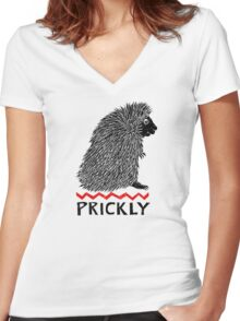 Prickly Porcupine Women's Fitted V-Neck T-Shirt