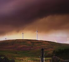 Stormy Clouds Over A Scottish Wind Farm. by Aj Finan