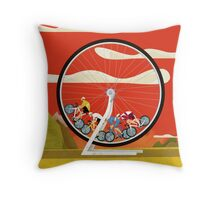 Road Cycle Racing on Hamster Power Throw Pillow