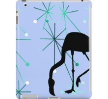 Retro MidCentury Modern Atomic Starburst Flamingo Pattern Blue iPad Case/Skin
