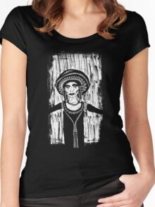 Sad Faced Woman In Black Women's Fitted Scoop T-Shirt