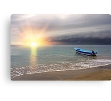 Sunset on the beach with storm coming Canvas Print
