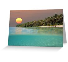 Sunset on tropical beach island Greeting Card
