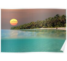 Sunset on tropical beach island Poster