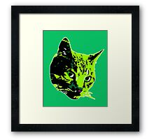 Electric Green Tabby Face Framed Print