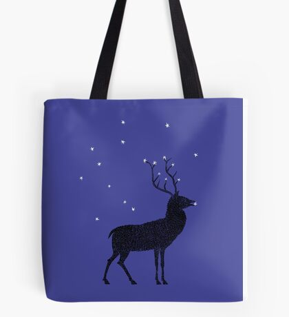 Stag grazing on the stars Tote Bag