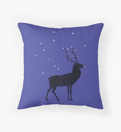 Stag grazing on the stars Throw Pillow
