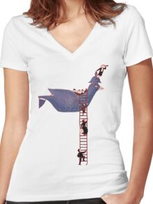 Bird Rescue Boat Women's Fitted V-Neck T-Shirt