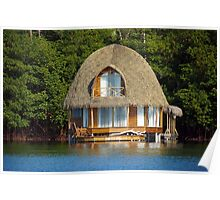 Thatched bungalow over water Poster