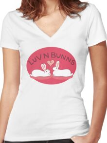 Hippity Hop - Red Bunny Design Women's Fitted V-Neck T-Shirt
