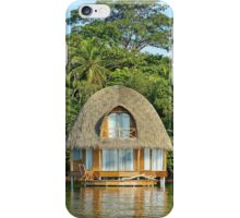 Tropical bungalow over water with thatched roof iPhone Case/Skin