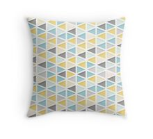 Blue, Mustard and Grey Triangle Pattern Throw Pillow