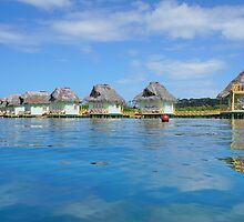 Tropical resort over water with thatched roof huts by Dam - www.seaphotoart.com