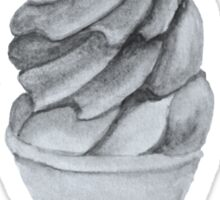 Black and White Ice Cream Cone Sticker