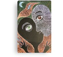 the kiss with moon and bird Canvas Print