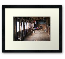 Inside Shearing Shed Framed Print