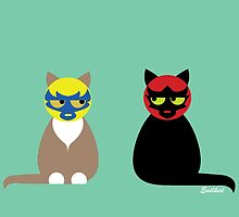 Lucha Cats by evilkidart