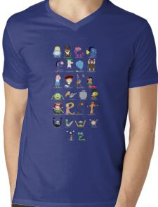 Animated characters abc Mens V-Neck T-Shirt