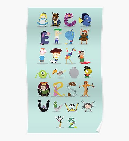 Animated characters abc Poster