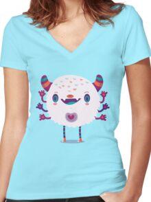 Puffy monster Women's Fitted V-Neck T-Shirt