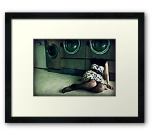 quirky laundromat lady Framed Print
