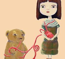 Grendelgirl and bear hold heartvines in Pink by Feng Chen