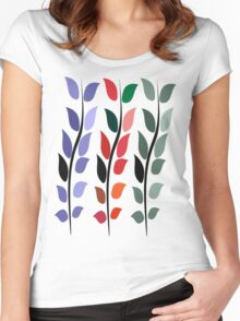Coloured Leaves T Shirt Women's Fitted Scoop T-Shirt