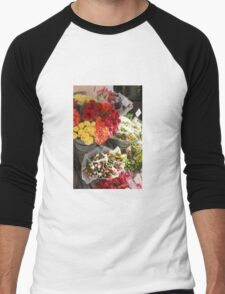 April's Kaleidoscope Flowers, Sweden Men's Baseball ¾ T-Shirt