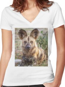 Wild Face of a Dog Women's Fitted V-Neck T-Shirt