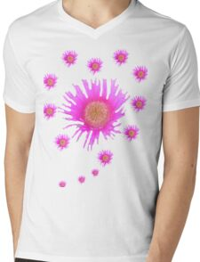Pink Flowery Heart Mens V-Neck T-Shirt
