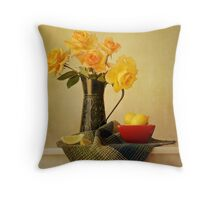 Roses in a Green Pitcher Throw Pillow