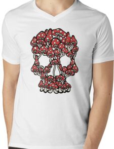 Skull made of Mushrooms Mens V-Neck T-Shirt