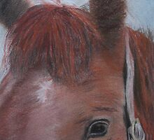 Horsin' 'Round a Bit - Original Pastel on Paper by Claudia Goodell