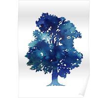 Blue tree minimalist painting Poster