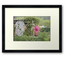 Pink Azalea Blooming by a Wall Framed Print