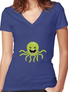 Happy Octopus Women's Fitted V-Neck T-Shirt
