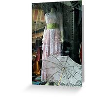 Fancy Spring Frock & Parasol Greeting Card