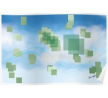 Green Squares Against a Clear Sky Poster