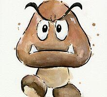 Goomba Watercolor by OlechkaDesign