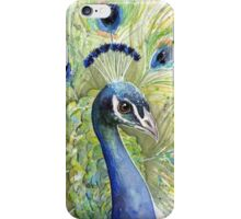 Peacock Watercolor Portrait iPhone Case/Skin
