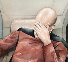 Captain Picard Facepalm Meme Watercolor by OlechkaDesign