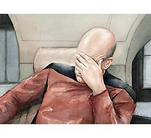 Captain Picard Facepalm Meme Watercolor Photographic Print