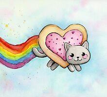 Nyan Cat Love Heart-Shaped Pop-Tart by OlechkaDesign