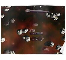 Ships in an Asteroid Field Poster